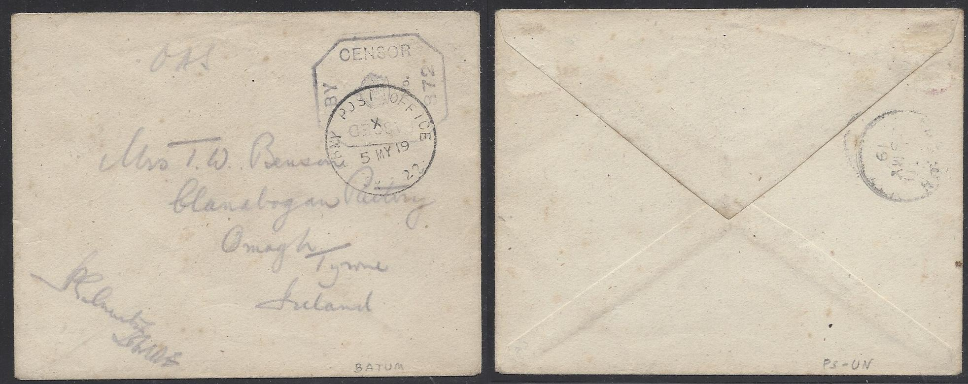 Russia Postal History - Allied Intervention. British forces in Caucasus Scott 02