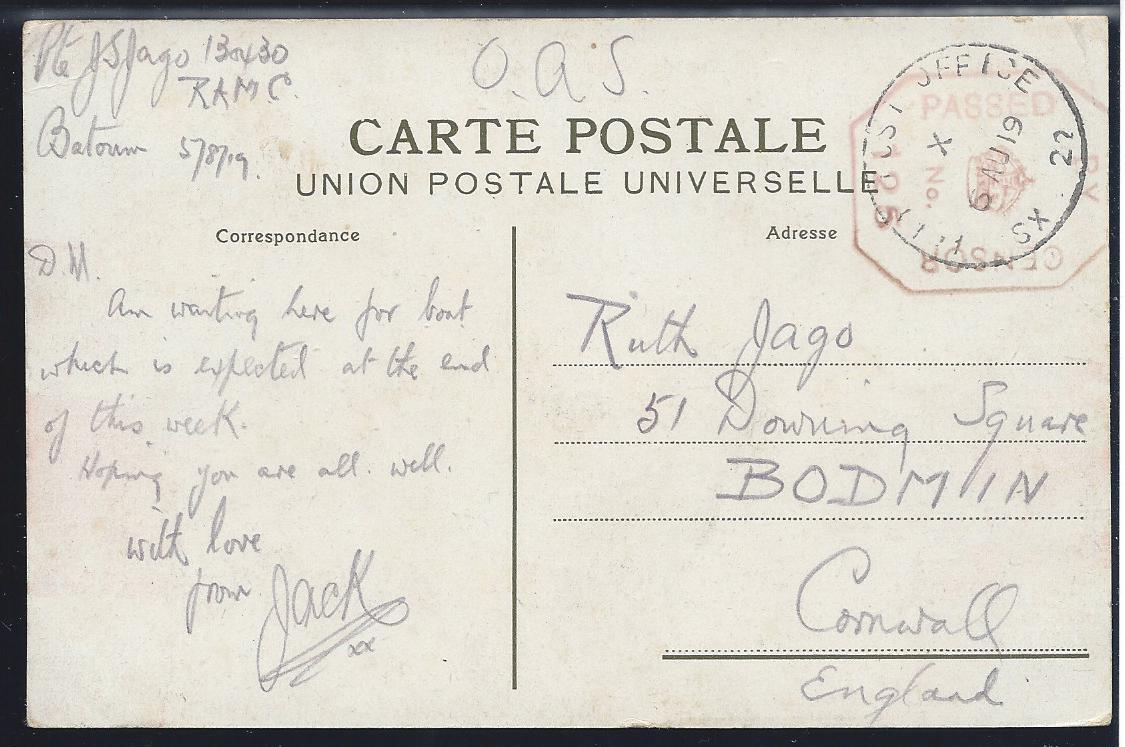 Russia Postal History - Allied Intervention. British Forces in Batum Scott 02