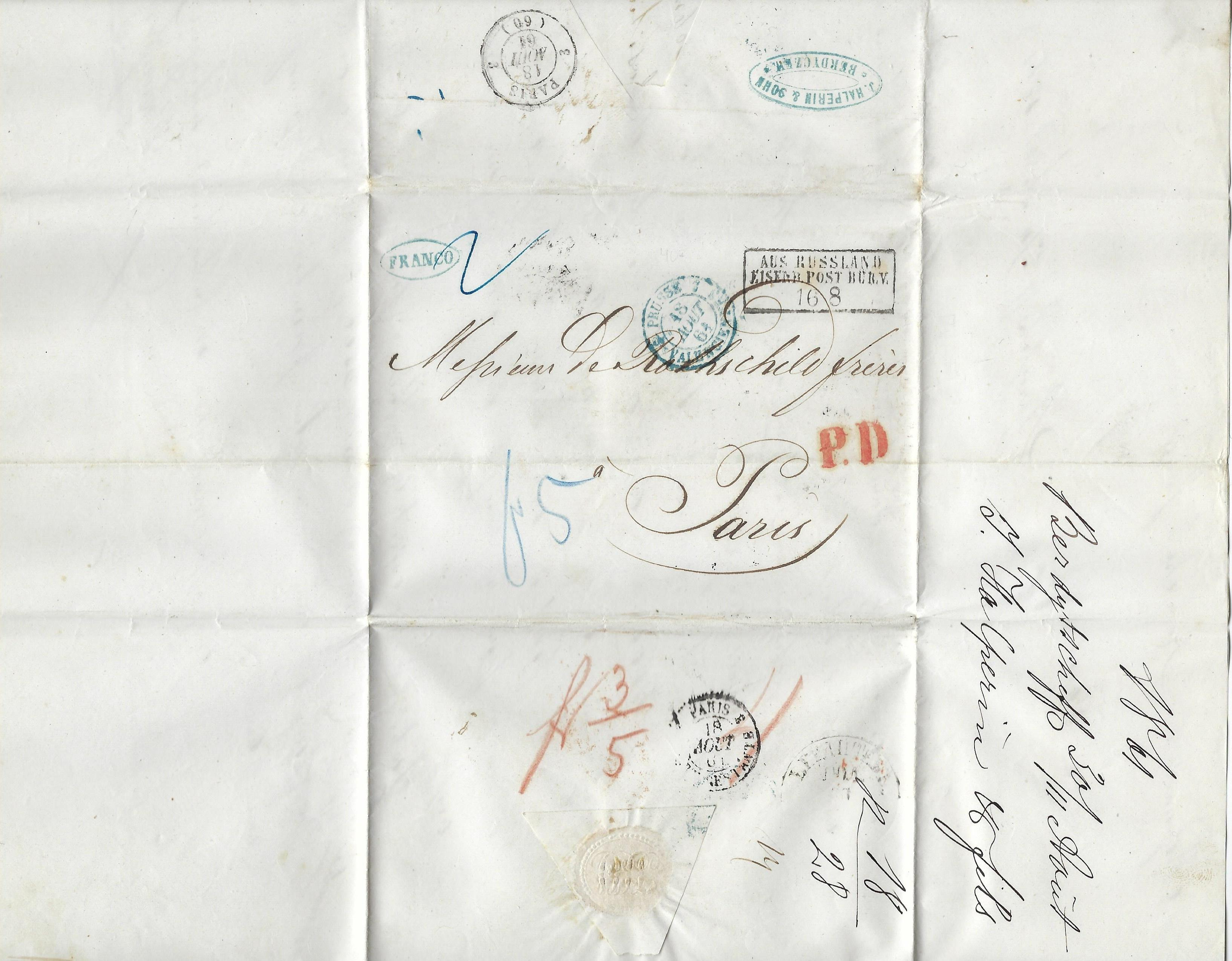 Russia Postal History - Stampless Covers Berdichev Scott 1031001