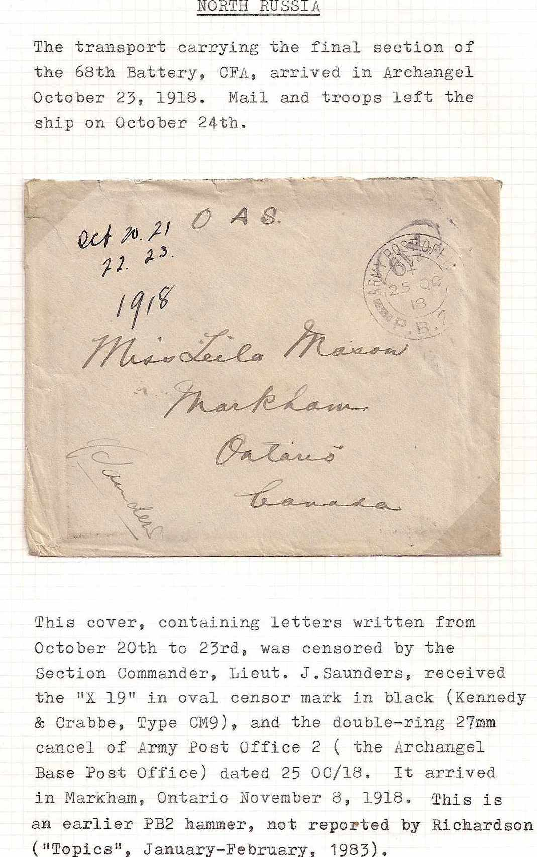 Russia Postal History - Allied Intervention. Canadian Forces in North Russia Scott 12