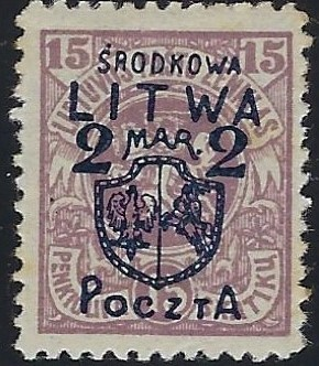 Baltic States CENTRAL LITHUANIA Scott 13