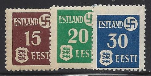 German Occupation - WWII ESTONIA Scott N3-5