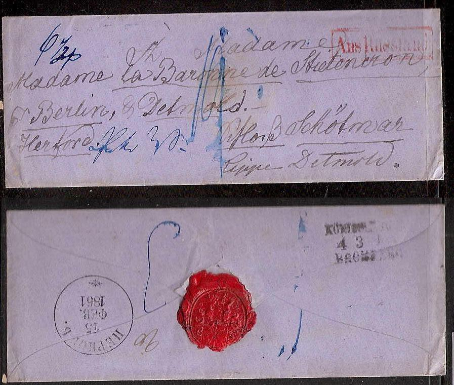 Russia Postal History - Stampless Covers PERNOV Scott 2601861