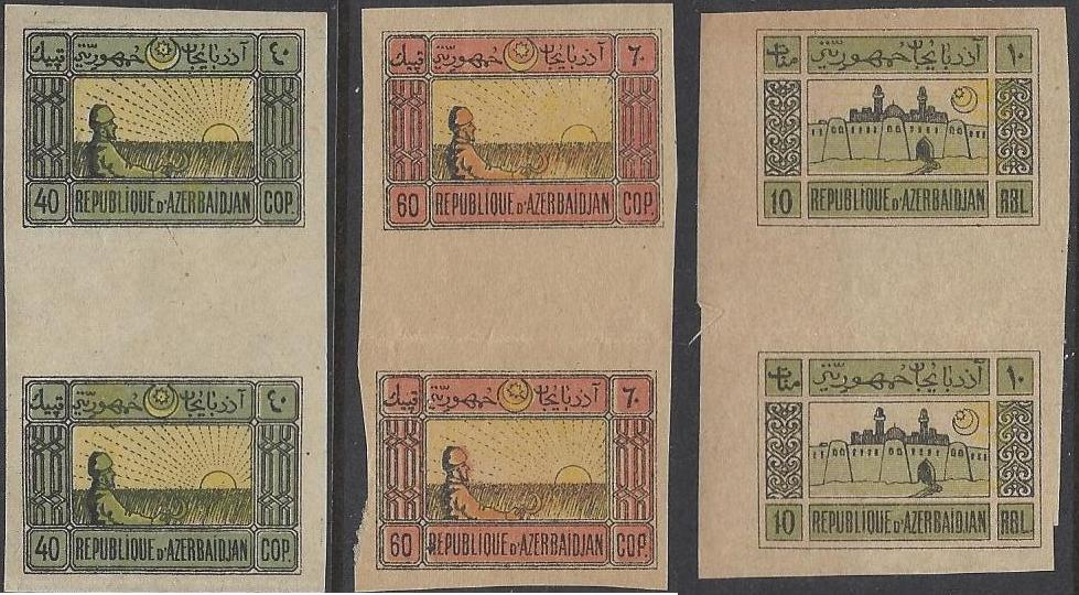 Russia Stamps Offices & States-Azerbaijan. AZERBAIJAN Scott 3-4,8 Michel 3,4,8