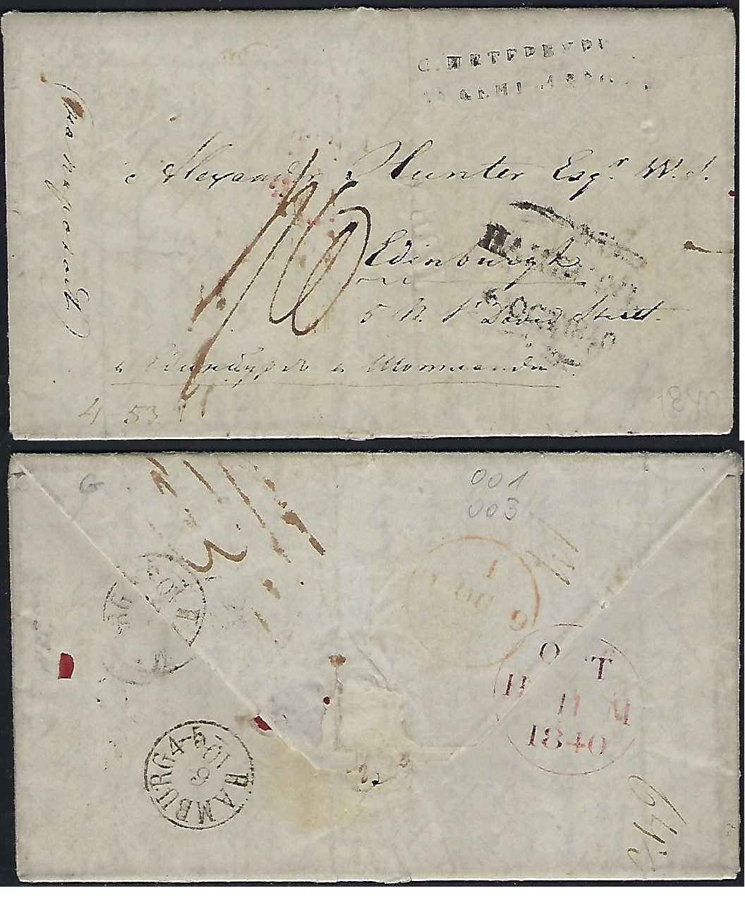 Russia Postal History - Stampless Covers St.petersburg Scott 4001840